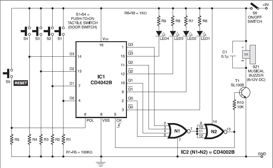 musical doorbell circuit  u0026 easy